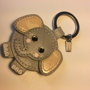 COACH Grey Leather Pink Elephant Key Fob F93073